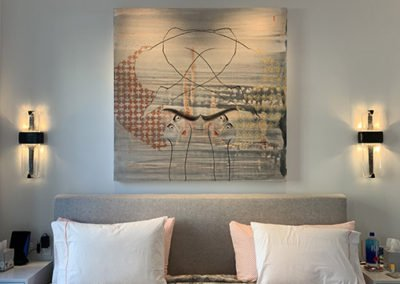 Artwork over penthouse bed