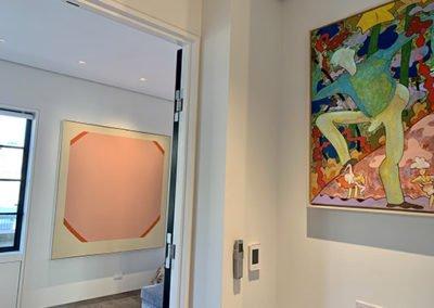 Artwork in penthouse hallway to bedroom