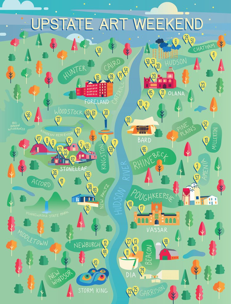 Upstart Art Weekend poster showing a river with trees and buildings